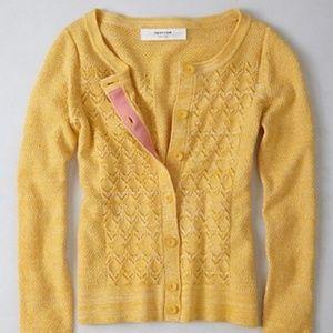 ANTHROPOLOGIE Pointelle Perk Cardigan Sweater {T1}